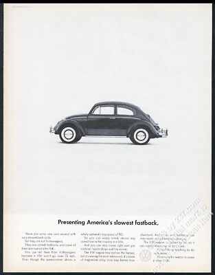 1965 VW Beetle classic car photo America's Slowest Volkswagen 13x10 ad