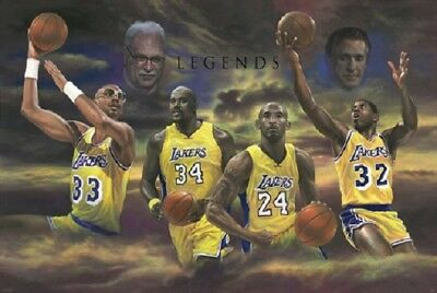 LAKERS LEGENDS KOBE SHAQ MAGIC KAREEM TRIBUTE POSTER, size 24x36