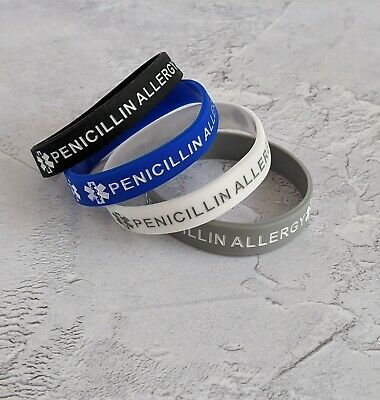 Penicillin Allergy Awareness Silicone Wristband Medical Alert (1 Wristband) UK