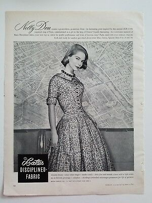 1956 Nelly Don women's dress Bates disciplined fabric fashion ad
