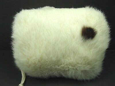 Vintage White Rabbit Fur Hand Warmer Muff Small Lined With Wrist Strap