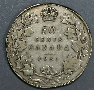 CANADIAN 1931 FIFTY CENTS 50C Half Dollar 80% SILVER  Grade: F A5314