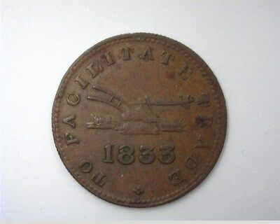 Upper Canada 1833 Halfpenny Token  Ch-112  Extremely Fine