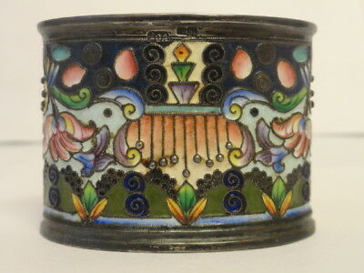 Antique Russian silver 84 cloisonne shaded enamel napkin ring by 20th Artel