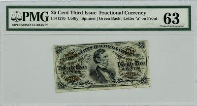 Fr. 1295 Twenty Five Cent 25c Third Issue Fractional Currency Ch. Unc 63 PMG
