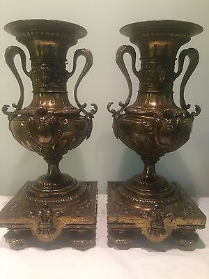 Pair Of Antique Victorian Bronze Classical Garnitures