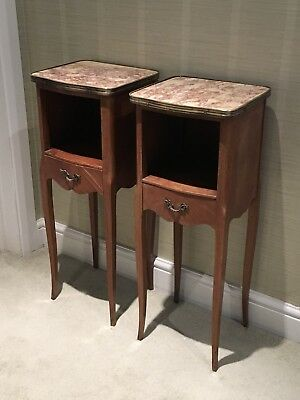 Pair Of Small Slim Antique French Walnut And Marble Bedside , Side Tables