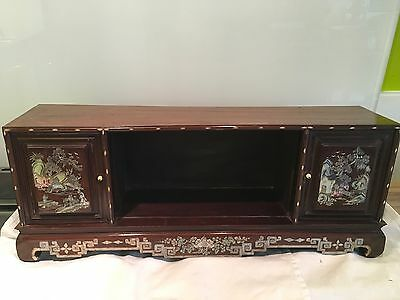 Small Antique Chinese Mother Of Pearl Inlaid Rosewood Cabinet, Chinoiserie