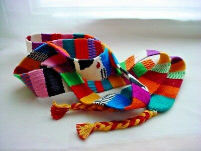 Colorful South American Woven Belt Sash Cotton White Rabbit Motif Peruvian