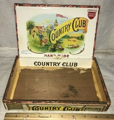 Antique Country Club Wood Cigar Box Vintage Tobacco Golf Tennis Rowing Sports