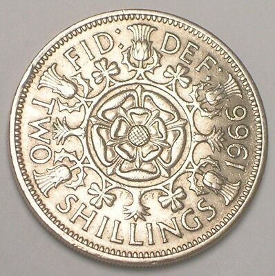 1966 UK Great Britain Two 2 Shillings Double Rose Coin XF