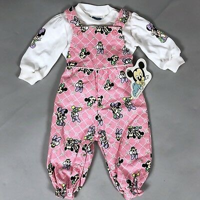 Vintage 80s Disney Babies Mickey Minnie Daisy Baby Girl Overalls Set 0-6 Months