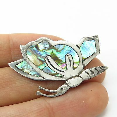 Vintage Mexico Signed 925 Sterling Silver Abalone Shell Butterfly Pin Brooch