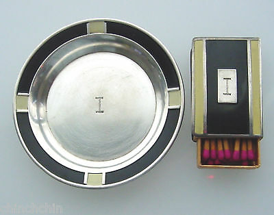 Rare ART DECO Sterling ENAMEL Signed WEBSTER 2 pc Set ASHTRAY Match Box MATCHES