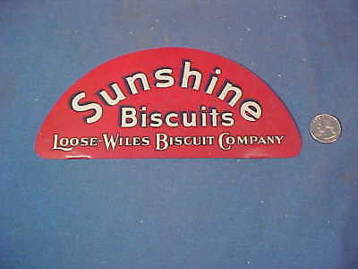 Orig 1920s SUNSHINE BISCUITS Tin Litho Store DISPLAY RACK SIGN