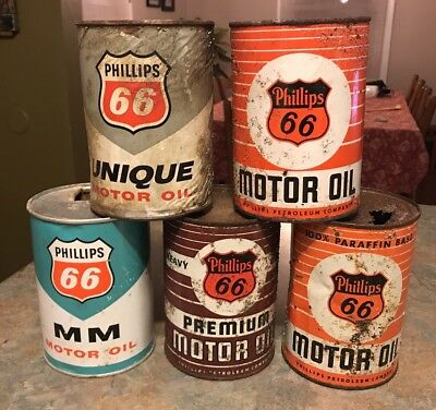 5 Vintage Phillips 66 Motor Oil Cans Gas Station Petroleum Collectibles