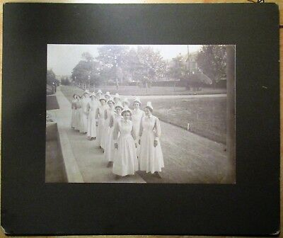 Ca 1900 Photograph Group of 18 Nurses Marching In Hospital Compound