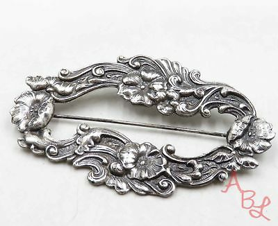 Sterling Silver Vintage 925 Victorian Repousse Brooch (11g) - 719828