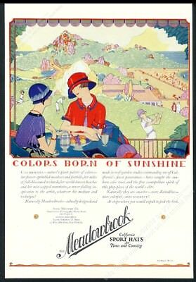 1924 Meadowbrook woman's hat golf course beach women art vintage print ad
