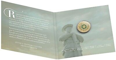 2017 Australia $2 Coloured UNC Carded RAM Coin - Remembrance Day Rosemary