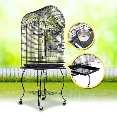 Pet Bird Cage Stainless Steel Parrot Budgie Canary Aviary Dome Top Stand Wheel
