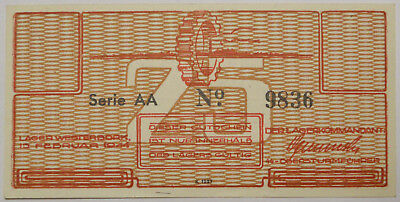Netherlands, WWII German Occupation, Westerbork 25 Cents note, UNC !!!, P-3562