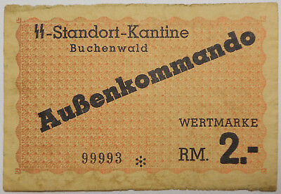 Germany, WWII Buchenwald German concentration camp 2 RM note, VF+/EF, P-3558