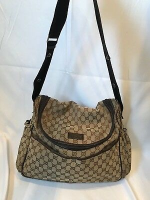 Auth. GUCCI canvas diaper bag with changing pad