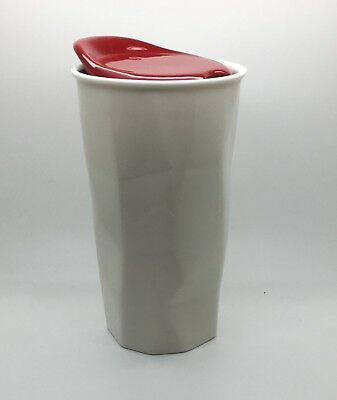 Starbucks 2013 Faceted White Red Ceramic Double Wall Tumbler Travel 10 oz Mug