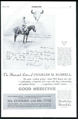 1931 Charles M Russell cowboy horse Illustrated Letter book release print ad