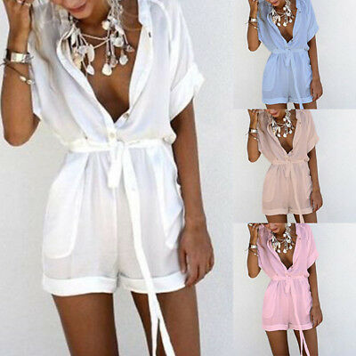 Holiday Women Mini Playsuit Jumpsuit Rompers Summer Beach Casual Shorts Dress