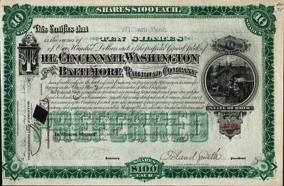 Railroad Stock Signed by Civil War Colonel ORLAND SMITH