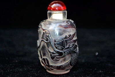 Chinese old Vintage Collectible coloured glaze Handwork dragon Snuff Bottle
