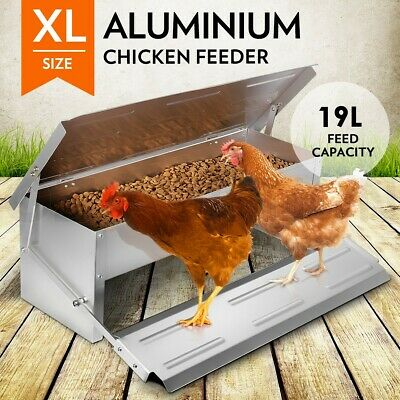 19L Chicken Feeder Chook Poultry Aluminium Automatic Treadle Self Opening Coop