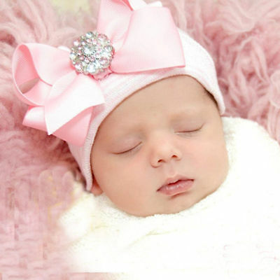 Baby Girls Infant Colorful Soft Hat with Bow Cap Newborn Beanie Striped Cute
