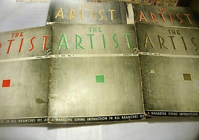 THE ARTIST magazines Job lot of 42 dated 1937-1949 vintage antique art paintings