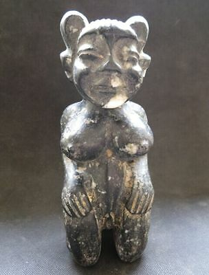 "Old Chinese Black Jade Stone Carved ""Hong Shan"" Culture ""Woman"" Figure 2115g"