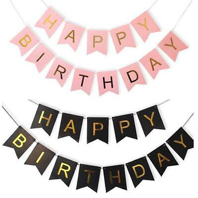 Pastel Happy Birthday Bunting Garland Gold Letters Party Hanging Banner Foiled Z