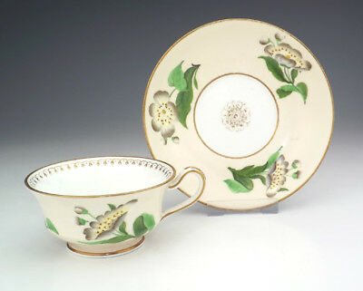 Vintage English Porcelain Flower Decorated - Cabinet Cup & Saucer - Pretty!