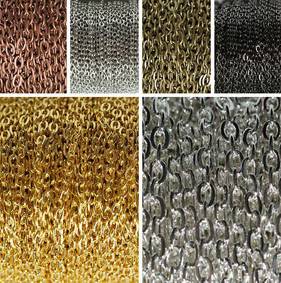 Lots DIY 5/100m 0.7*3*2mm Silver/Golden Plated Cable Open Link Iron Metal Chain