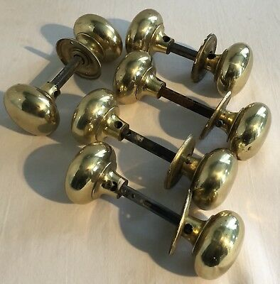 Set Of 5 Pairs Vintage Brass Victorian Style Door Handles Knobs