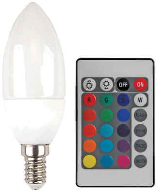 MULTI Colour Changing LED CANDLE Light Bulb E14 RGB SCREW IN REMOTE CONTROL A+
