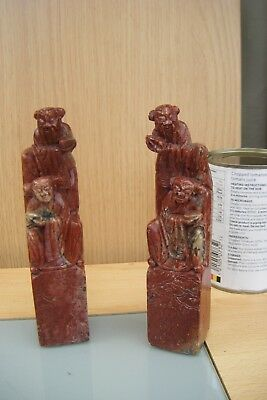 a pair of chinese carved soapstone seals.