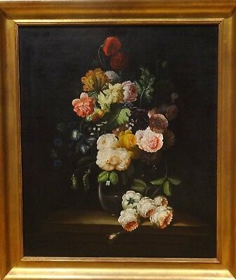 Large 19th Century Dutch Still Life Flowers In A Glass Vase Antique Oil Painting