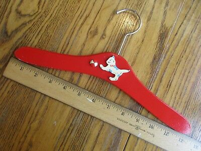Child's Vintage Red Painted Wood Hanger Kitty Cat With Ball Nursery