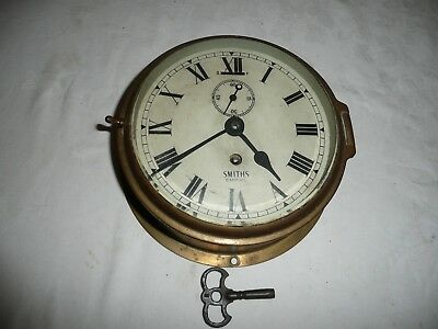 Vintage, Smiths Empire, Brass, Ships Bulkhead Clock, Working Order With Key.