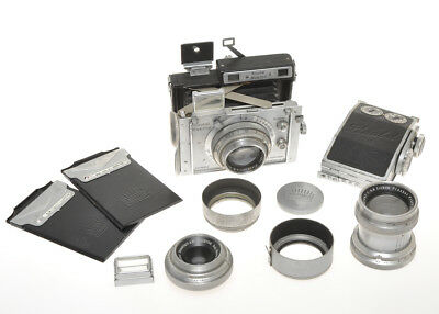 Plaubel Makina III outfit, 100/2.9, 73/6.8 Orthar (rare), 190/4.8 and roll film