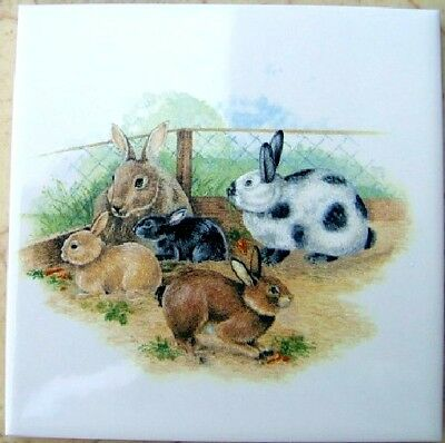 Ceramic Tile Farm Bunnys Rabbit Bunnies @Cute@