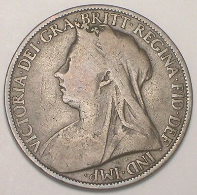 1899 UK Great Britain British One 1 Penny Old Queen Victoria Coin F+