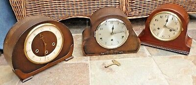 3 Vintage Wood Case Mantle Clocks 2 Westminster Chimes 1 Working - 2 Restoration